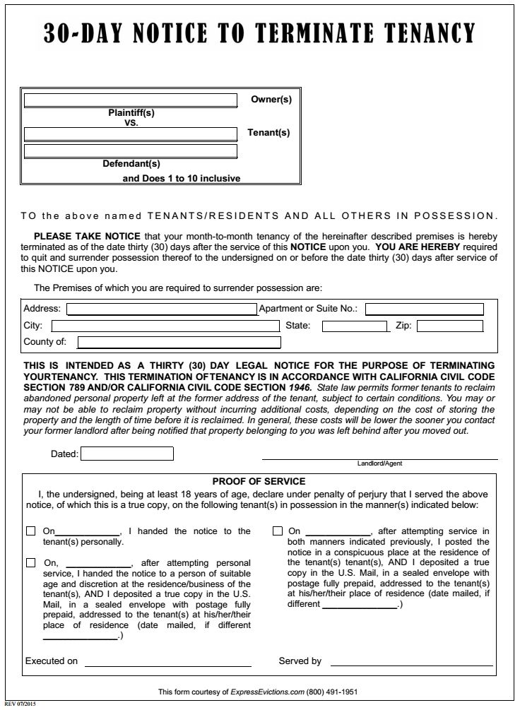 Free California 30 Day Notice to Terminate Tenancy | PDF Template ...