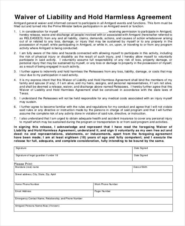 Sample Hold Harmless Agreement form - 12+ Free Documents in word, PDF