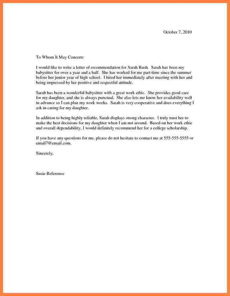 5+ scholarship recommendation letter for high school student ...