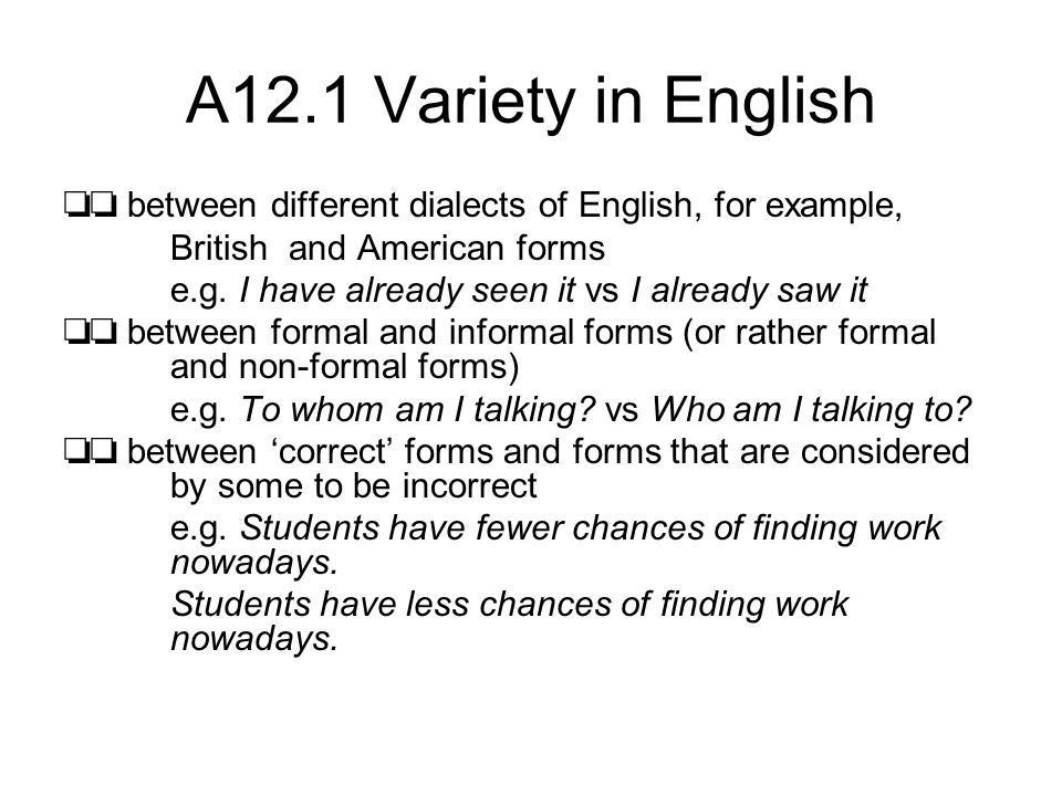 GRAMMAR IN SPEECH AND WRITING. A12.1 Variety in English ...