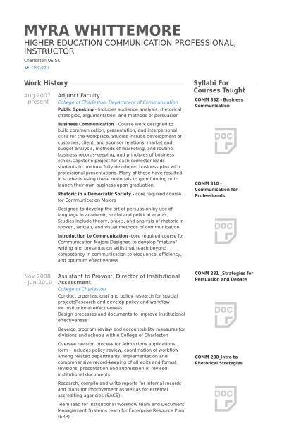 Adjunct Faculty Resume samples - VisualCV resume samples database