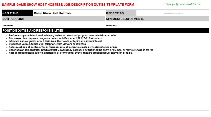 Hospital Hostess Job Descriptions