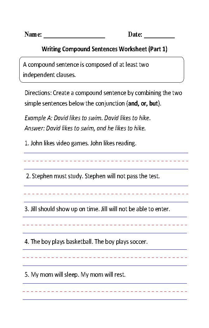 Example of compound sentence compound sentence examples alisen sentences worksheets compound sentences worksheets ccuart Image collections