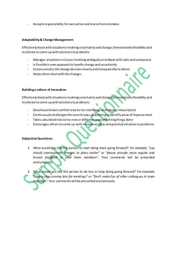 Sample questionnaire 360 feedback
