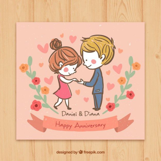 Sketchy couple in love happy anniversary card Vector | Free Download