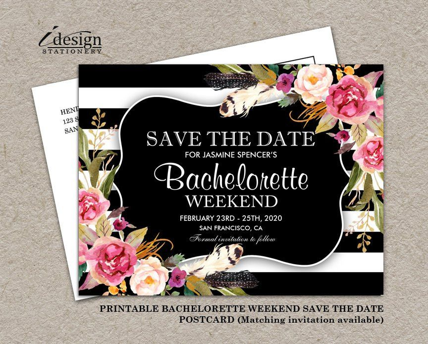 Floral Boho Chic Bachelorette Weekend Invitation Save The Date ...