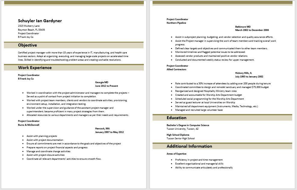 Project Coordinator Resume Examples 16 Best Best Project - help desk coordinator resume