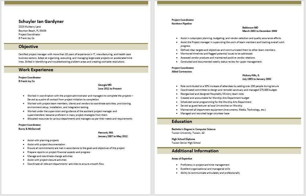 Project Coordinator Resume Examples Application Pour Essayer - help desk coordinator resume