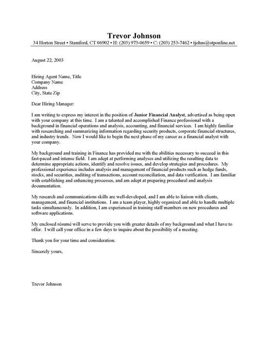 Junior Financial Analyst Cover Letter Example By Sampleresume ...