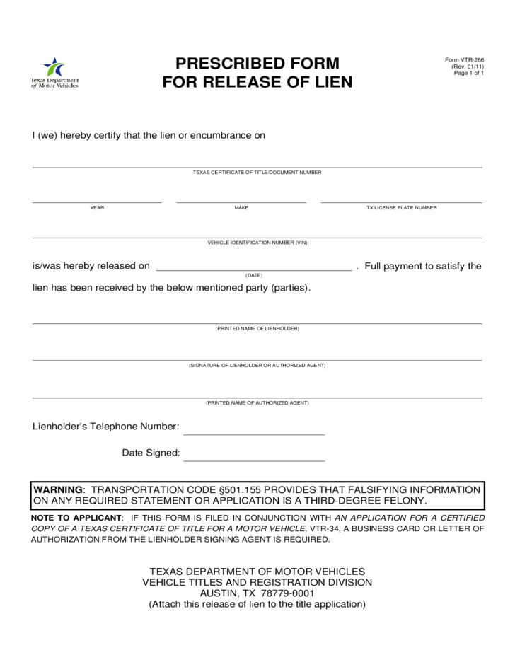 Form VTR-266 - Prescribed Form for Release of Lien - Texas Free ...
