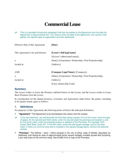 Commercial Lease Agreement | LegalForms.org
