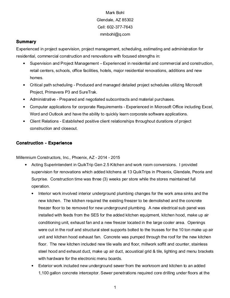 Mark Bohl Resume - Supervision, Project Management, Scheduling 04-09-…
