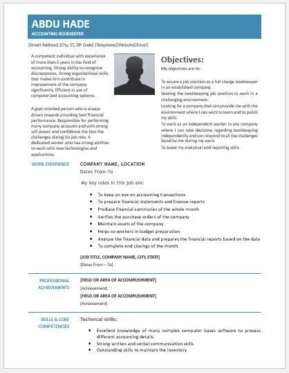 Accounting Bookkeeping Resume Contents, Layouts & Templates ...