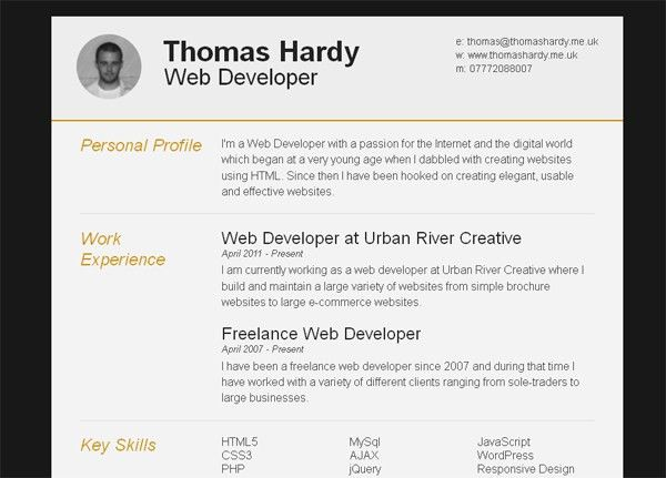 Resume Html Template. Free Responsive Html/Css3 Cv Template 11 ...
