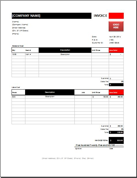 MS EXCEL Electrician Invoice Template | EXCEL INVOICE TEMPLATES