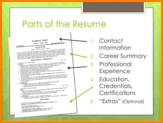 9+ parts of a resume | cna resumed