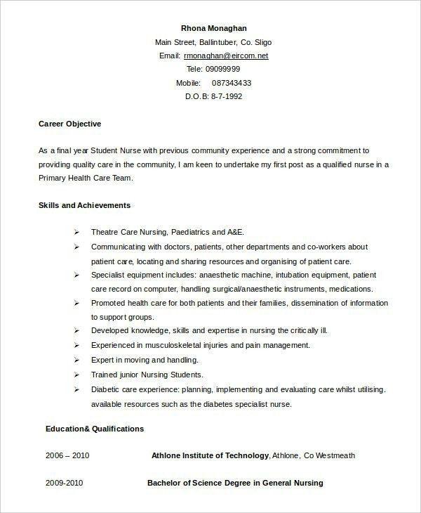 Nursing Student Sample Resumes. resume nurse resume cv cover ...