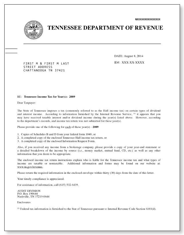 Tennessee Department of Revenue Hall Income Tax Letter