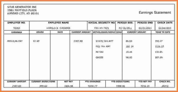 Pay Stub Template. Adp Pay Stub Template Free Pay Stub Templates ...