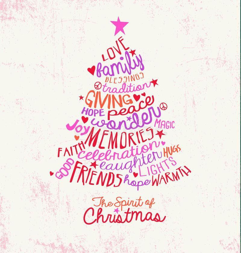 Handwritten Word Cloud Christmas Tree Greeting Card Design Stock ...