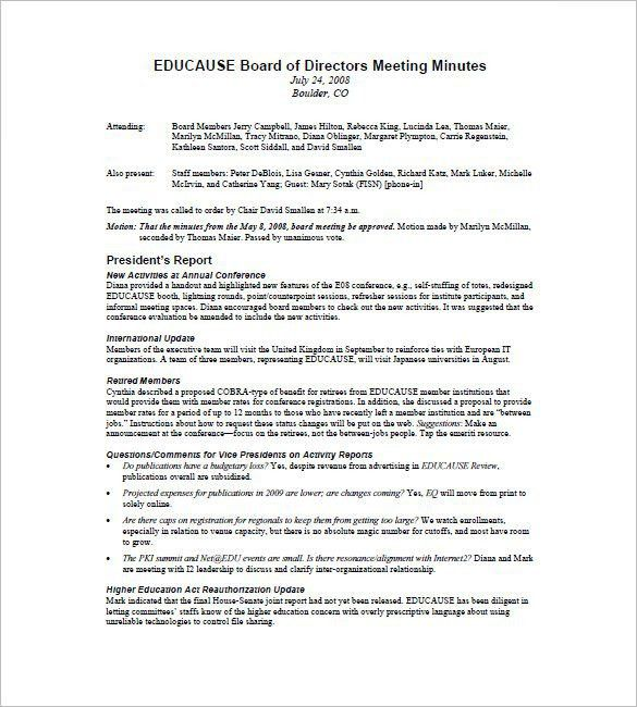 board meeting minutes sample