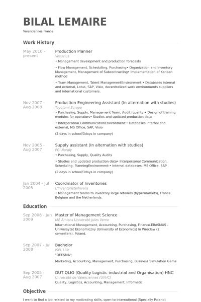 Production Planner Resume samples - VisualCV resume samples database