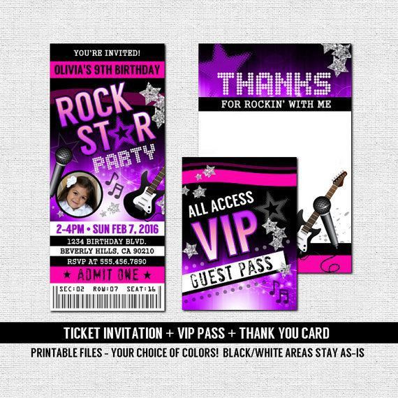 CONCERT TICKET INVITATIONS Rock Star Birthday Party + VIP Pass + .  Concert Ticket Birthday Invitations
