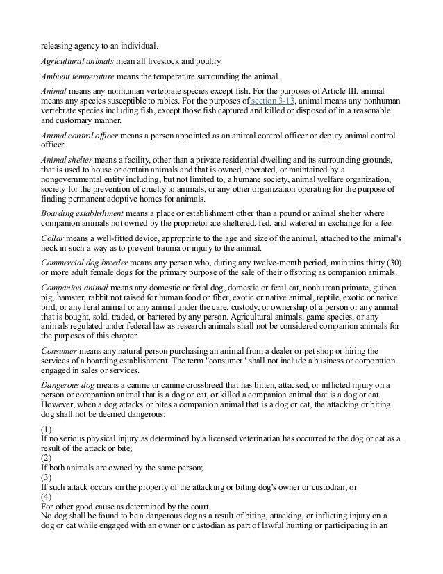 Gloucester, Virginia Animal Control Ordinances With Notes, 10 2014