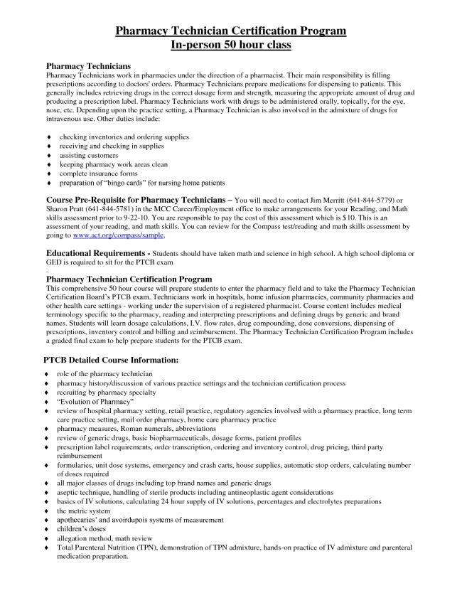 Pharmacy Technician Resume Example Format Doc : Vinodomia