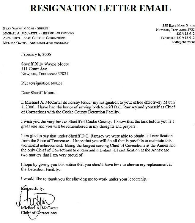 Resignation Letter Format: Email Marketing Templates Letter Of ...