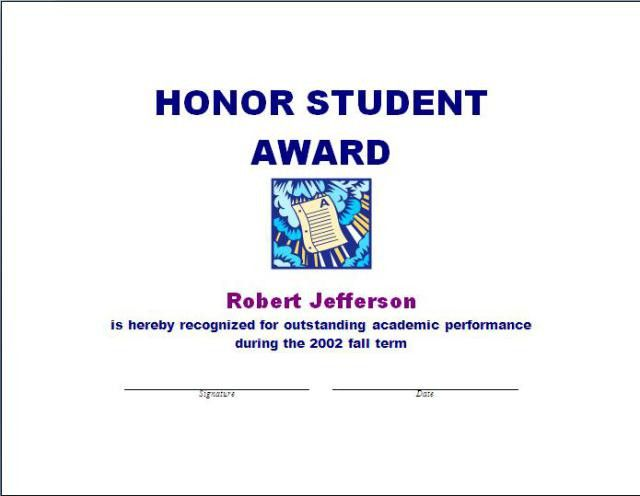 Student Award Template | Free Layout & Format