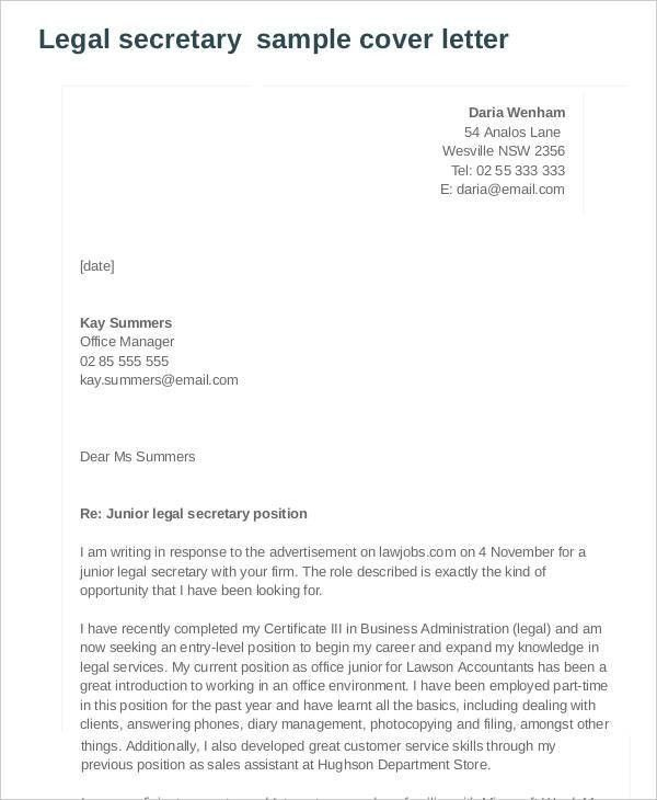 7+ Legal Cover Letters - Free Sample, Example Format Download ...