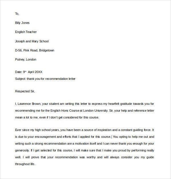 Sample Thank You Letter for Recommendation - 9+ Download Free ...