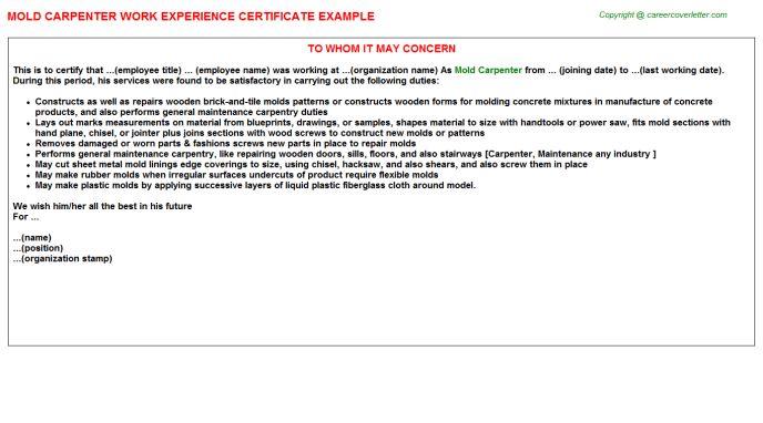 Mold Carpenter Work Experience Certificate