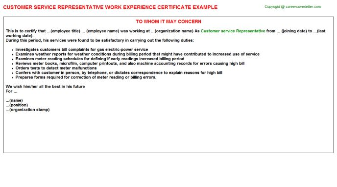 Customer Service Advisor Work Experience Letters