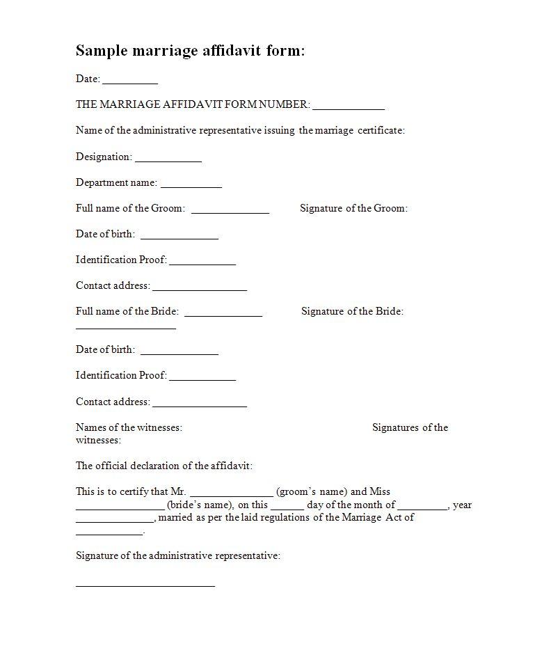 Marriage Affidavit Form Template