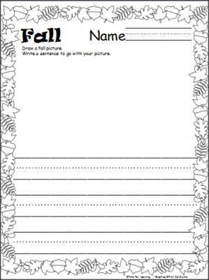 Here is a fall leaves writing template with print practice lines ...