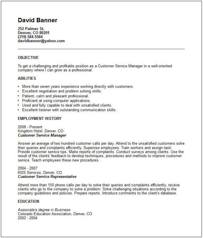 Banking Customer Service Representative Manager Resume Sample ...
