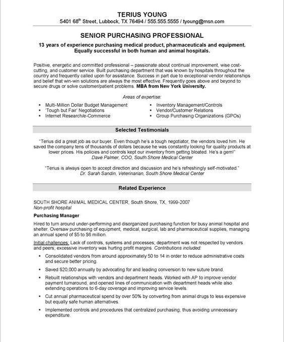 Purchasing #Manager Resume (resumecompanion.com) | Work ...