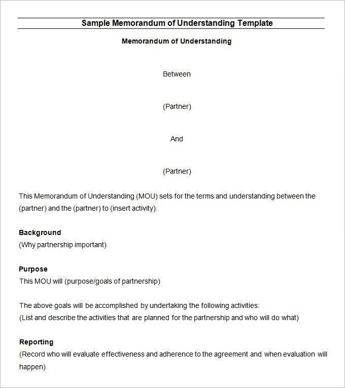 Memorandum of Understanding Template - 12 Free Word, PDF Documents ...