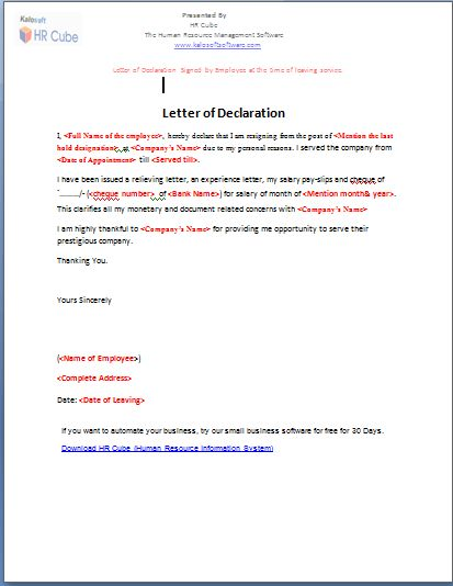 Declaration letter format declaration letter format letter letter of declaration download template thecheapjerseys Choice Image