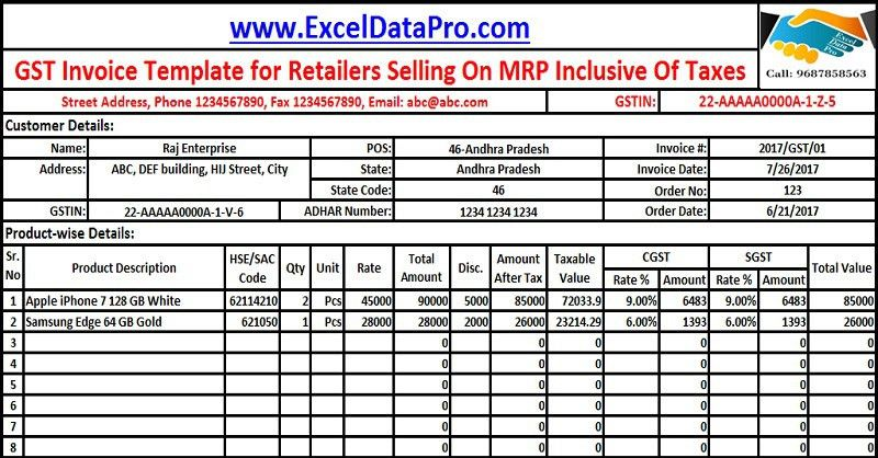 Download GST Invoice Format For Selling Goods On MRP Inclusive Of ...