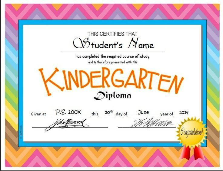 Kindergarten & Pre-K Diploma/Certificate Templates | Preschool ...