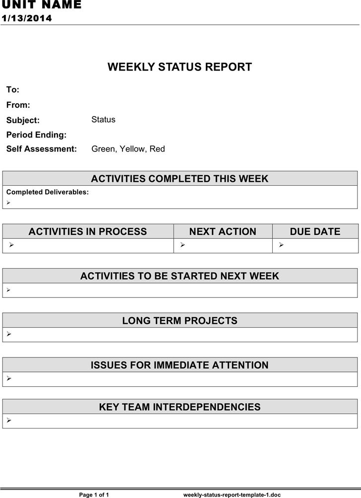 Weekly Status Report Template - Template Free Download | Speedy ...