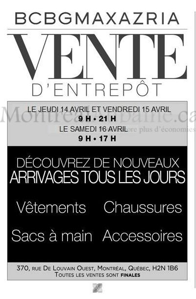 Montrealaubaine.ca - BCBGMAXAZRIA Warehouse Sale