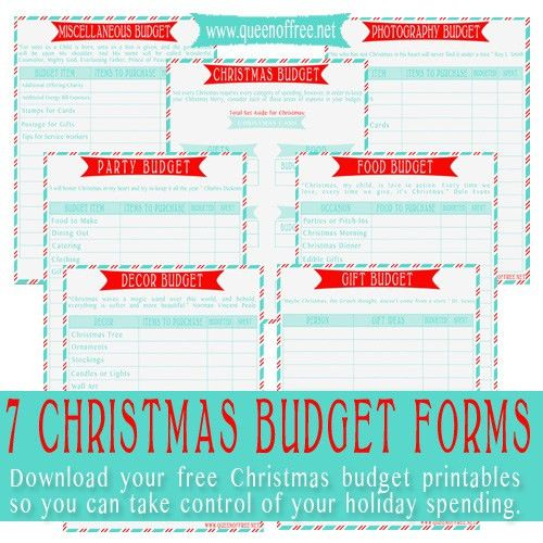 Seven FREE Printable Christmas Budget Forms - Queen of Free