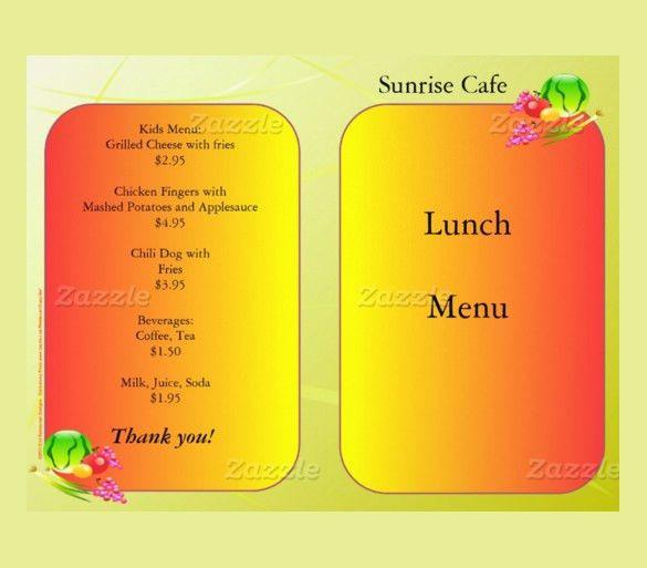 Lunch Menu Template Free Lunch Menu Template  Free Word Pdf Psd