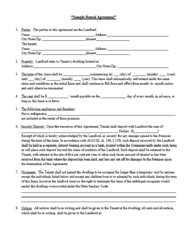 rent agreement form free