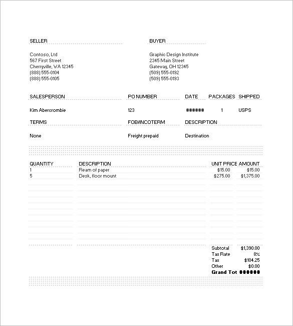 Commercial Invoice Template – 6+ Free Sample, Example, Format ...