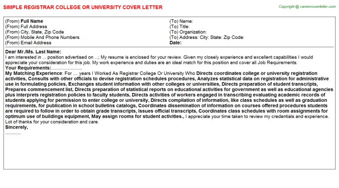 Registrar College Or University Cover Letter